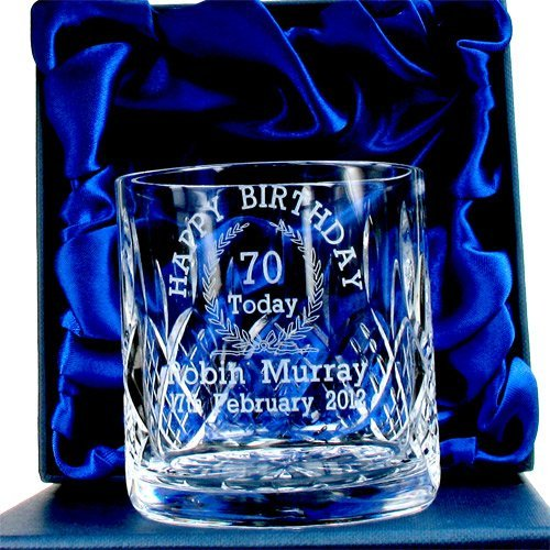 70th Birthday Whisky Glass For Him Personalised Gifts Amazoncouk Kitchen Home