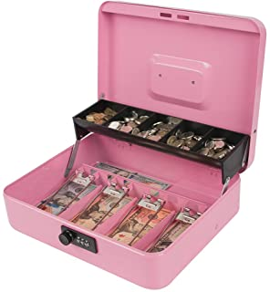 Kyodoled Locking Money Box with Combination Lock, Metal Cash Box with Money Tray, Cash Register,5 Compartments Cantilever ...