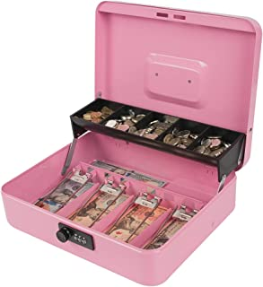 Kyodoled Locking Money Box with Combination Lock, Metal Cash Box with Money Tray, Cash Register,5 Compartments Cantilever Tray 4 Spring Loaded Clips,11.81Lx 9.45Wx 3.54H Inches Pink X Large