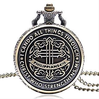 SWAOOS Puedo Hacer Todas Las Cosas A Través De Cristo Que Me Fortalece Biblia Filipenses 4:13 Reloj De Bolsillo Dios Jesús...