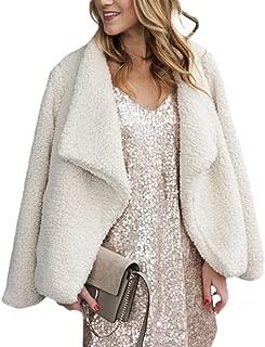 Women Sherpa Jackets Fuzzy Fleece Open Front Lapel Cardigan Outwear with Pockets