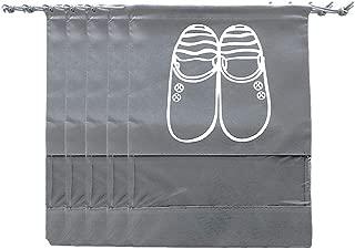 TOTA 无纺鞋包旅行和行李/季节性包装带透明窗户带抽绳袋(大号,灰色)(大号,灰色)