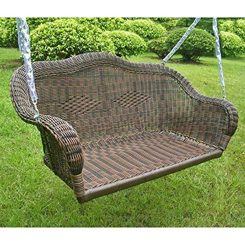 International Caravan Furniture Piece Resin Wicker Hanging Loveseat Swing