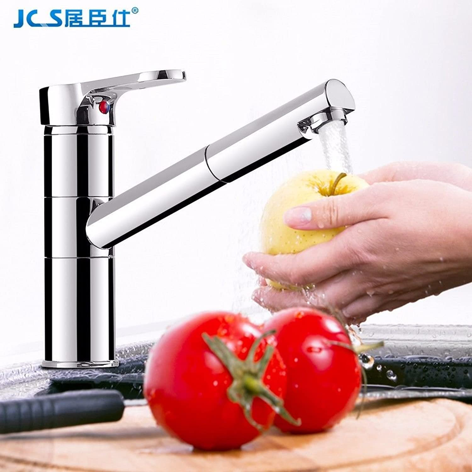 Commercial Single Lever Pull Down Kitchen Sink Faucet Brass Constructed Polished Pull-Out Kitchen Hot and Cold Faucet Sink Full Copper Stretchable redating Telescopic Sink Sink Faucet