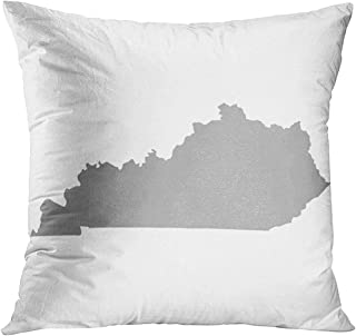 Throw Pillow Cover Blue State Kentucky Map in Gray on White Yellow Shape Abstract America Decorative Pillow Case Home Decor Square 20x20 Inches Pillowcase