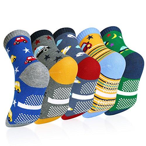 VBIGER Chaussettes Enfants Garcon avec Motifs Cartoon - Lot de 5 - Variété de Couleurs1 - Taille 3-5 ans