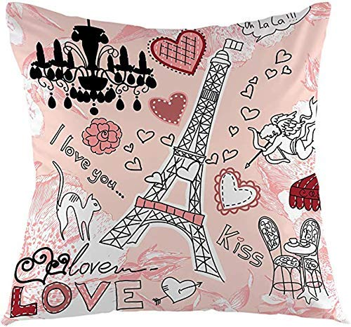 NHJYU Eiffel Tower Throw Pillow Cover Love in Paris Romantic Hearts Pink Background Cushion Cover Decorative Pillow Case, Home Decor for Sofa Bedroom Car 18x18 Inch Pillowcase