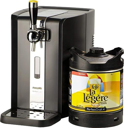 PerfectDraft Tireuse à Bière et 1 fût 6L Bière Premium - 5 euros de consigne inclus - Idée cadeau (Leffe la Légère)