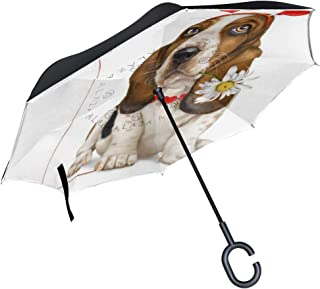 Dolphin Inverted Umbrella with Light Reflection Strip, Double Layer Car Reverse Umbrella, Auto-Open Self-Standing Umbrella with C-Shape Handle