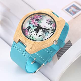 HUFAN Fashion Personality Big Round Dial Bamboo Shell Watch with Leather Strap (Color : Color14)