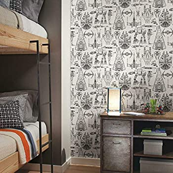 RoomMates RMK11036WP Star Wars Blueprint Peel and Stick Wallpaper  Black  20.5  x 16.5 feet