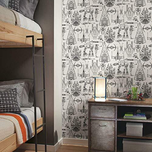"RoomMates RMK11036WP Star Wars Blueprint Peel and Stick Wallpaper , Black , 20.5"" x 16.5 feet"