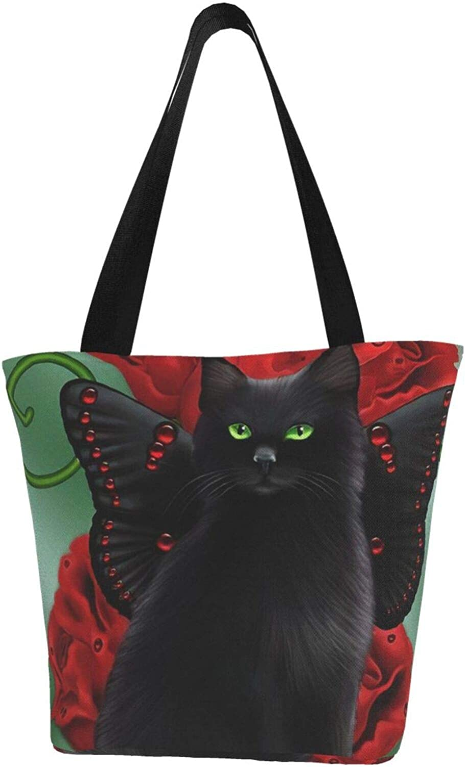 Black Cat Butterfly Red Flowers Gifts Pet Themed Printed Women Canvas Handbag Zipper Shoulder Bag Work Booksbag Tote Purse Leisure Hobo Bag For Shopping