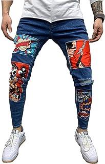 Mens Slim Fit Jeans Super Stretch Denim Pants Slim Skinny Ripped Designer Jeans