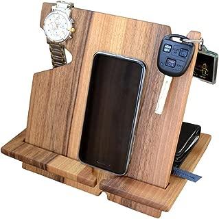 Wood Phone Docking Station, Walnut Desk Organizer, Tablet Holder, Key, Coin, Wallet Purse, Watch Stand, Handmade Men Graduation Gift, Husband Anniversary, Dad Birthday Idea, Nightstand for Him, Gadget