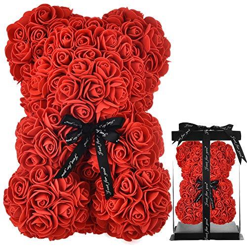 Rose Teddy Bear Niedźwiedź różany miś róża kwiaty miś, prezenty dla mamy kobiet dla niej nastolatek prezenty prezenty dla matki prezenty na rocznicę urodziny walentynki - miś z pudełkiem (czerwony)