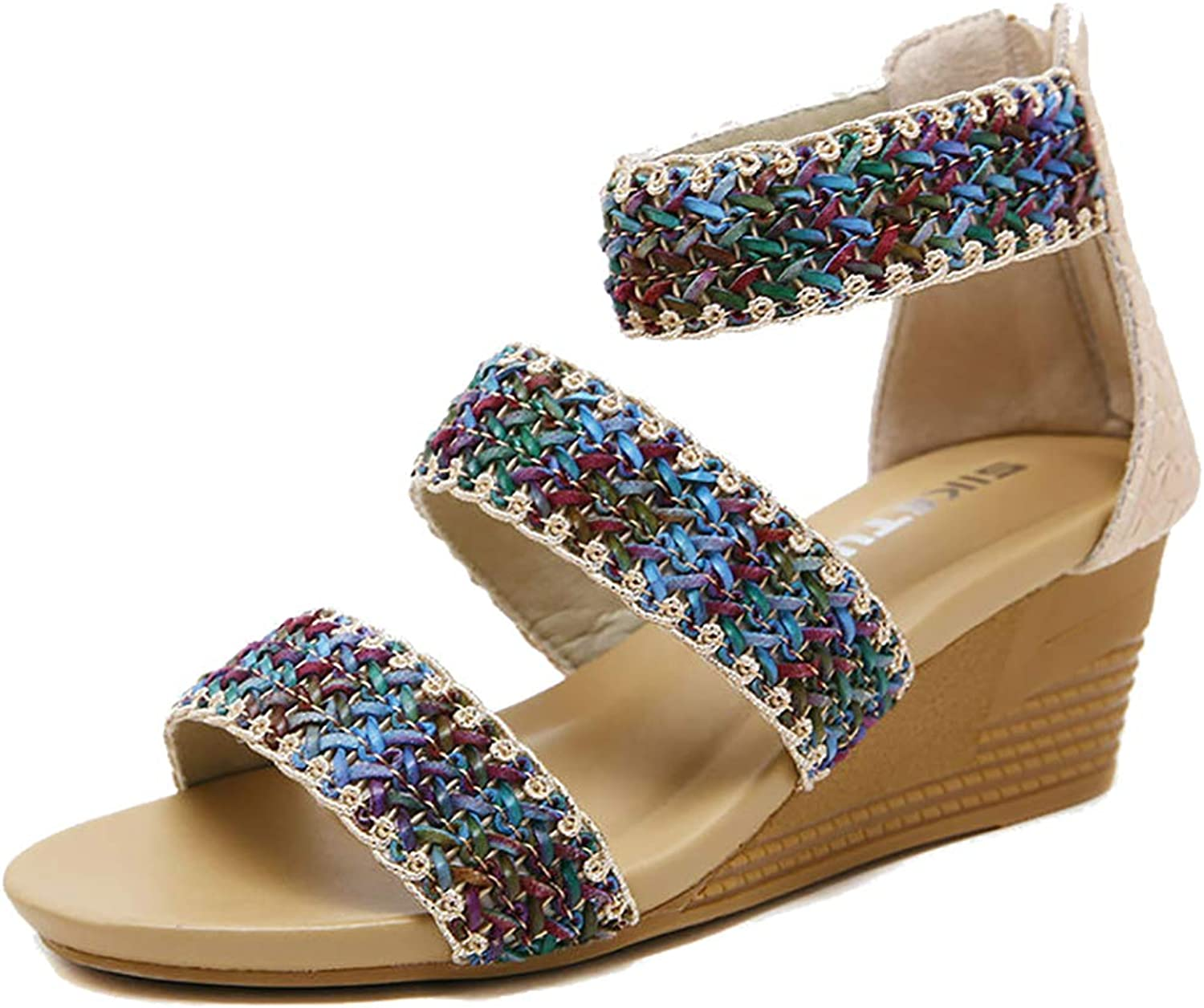 Odema Women's Bohemian Mid Heel Wedge Sandals Back Zipper Ankle Strap Sandals