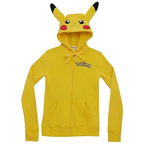 f12025d099d2 Meilaier Womens Cute Anime Pikachu Hoodie Zip Up Coats Jackets Sweatshirt  Costume (M)