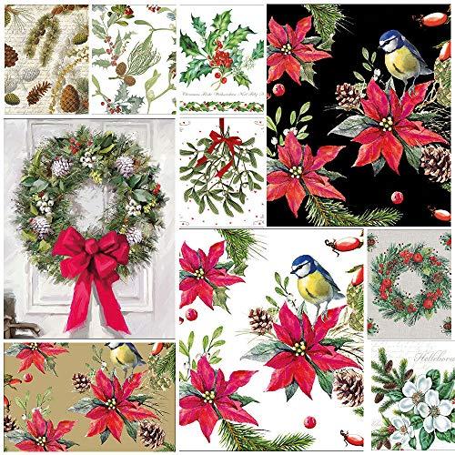 Christmas Flora, confezione da 20 tovaglioli misti per decoupage a 3 strati, 33 x 33 cm, tovaglioli di carta con disegni natalizi (2 tovaglioli ciascuno di 10 diversi disegni)