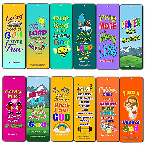 Easy Bible Scriptures for Kids - Colorful (12-Pack) - Compilation of Helpful and Easy to Learn Memory Verses and Inspiring Messages for Kids