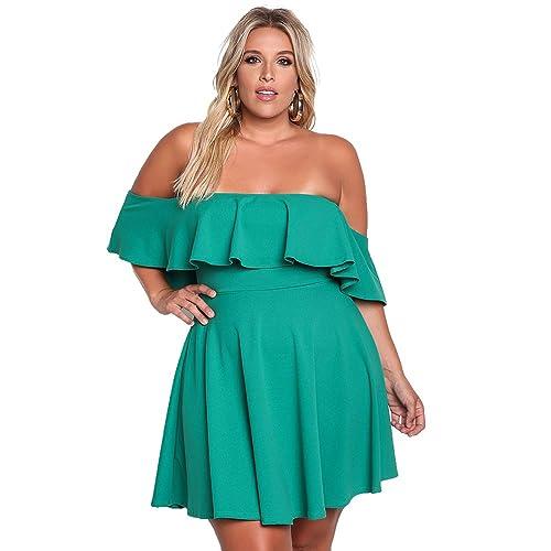 57fce148e9e ROSIANNA Women s Off Shoulder Strapless Ruffle Mini Plus Size Swing Dresses