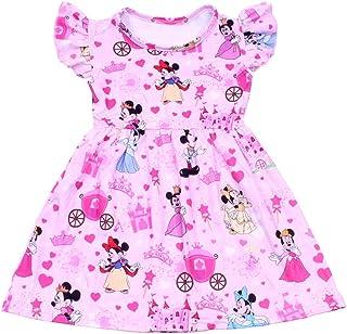 LZJLSQHYH Baby Girls Pink Heart Princess Mickey Flutter Dress Children Kids Boutique Clothes Milksilk