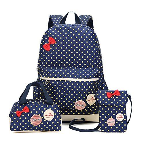 MCUILEE® Conjunto de 3 Polka Dot mochilas escolares/escolares bolsas/mochila niños niñas adolescentes + mini bolso + bolso crossbody (Azul Marino)