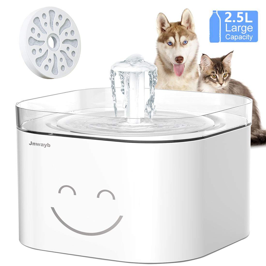 Jnwayb Cat Water Fountain Ultra-Silent Pump Automatic Pet Water Fountain Dog Water Dispenser with Multiple-Layer Filter Dog Cat Health Caring Fountain 2.5L B92 Water Fountain