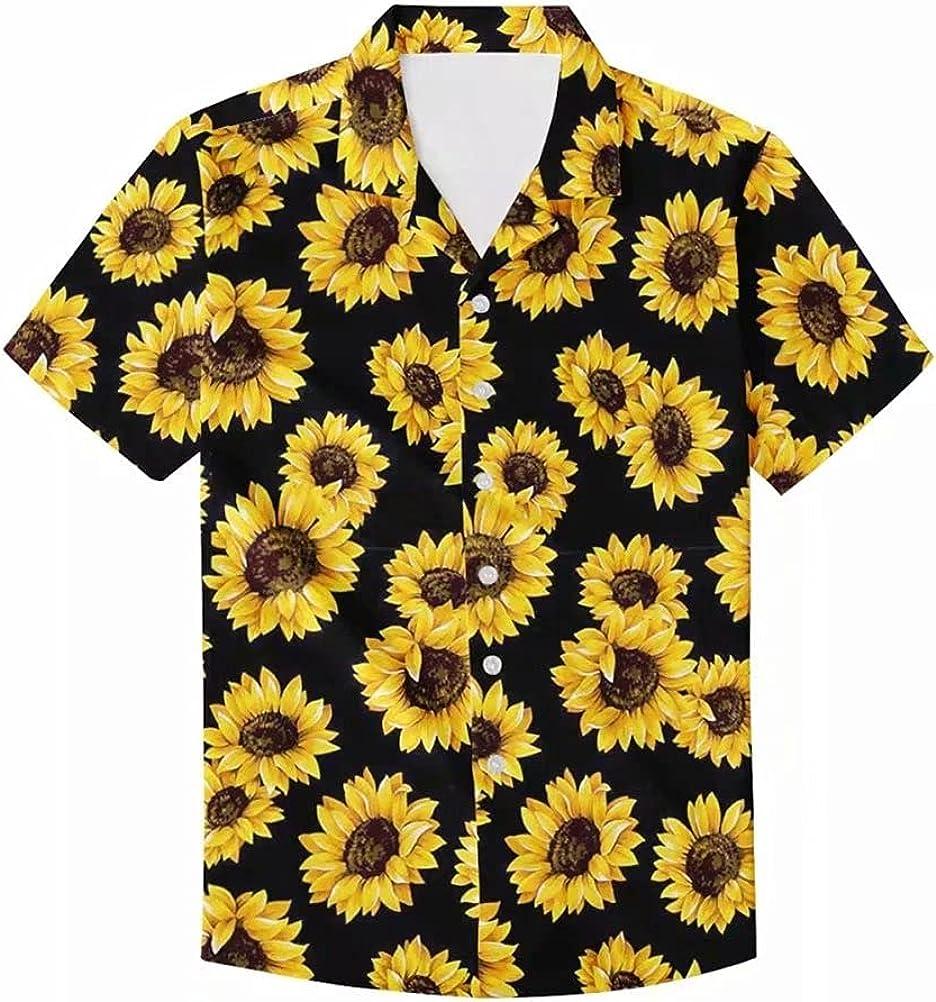 Men's Floral Print Button Down Casual Hawaiian Shirt Summer Top Short Sleeve