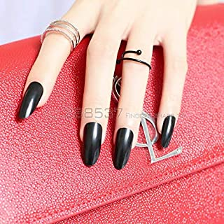 Business Ventures 24 Pc/Set Black Beautiful Reusable Artificial Nails With Adhesive Glue