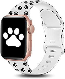 BYH Compatible with Apple Watch Band 45mm 44mm 42mm 41mm 40mm 38mm for Women Men Cute Fadeless Floral Soft Silicone Sport ...