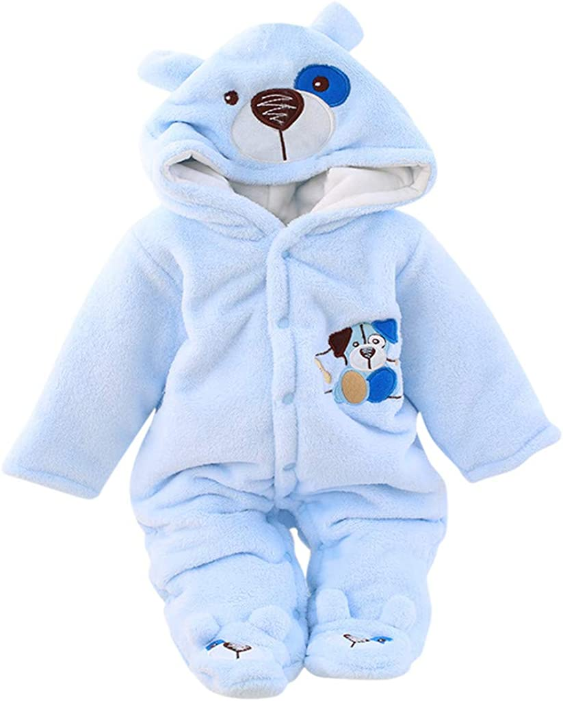 WUAI Newborn Online limited product Baby Bear Max 63% OFF Snowsuit Jumpsu Fleece Warm Hooded Romper