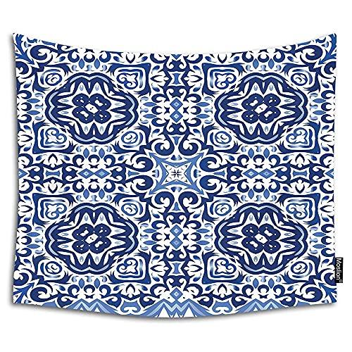 HGdggvd Tapiz geométrico marroquí para colgar en la pared, diseño bohemio floral, color azul marino y índigo para salón, dormitorio, dormitorio, hogar, poliéster, 90 W x 60H