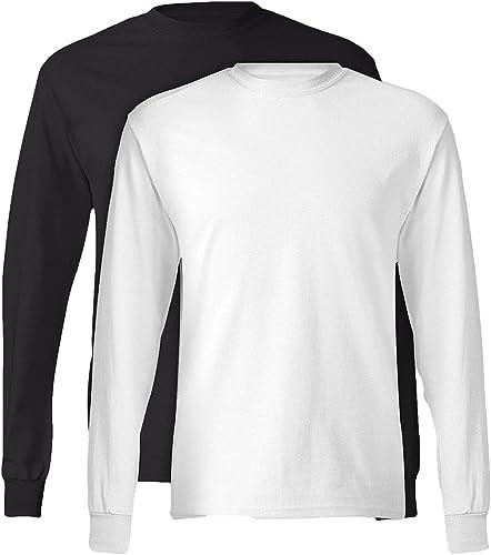 , 5586, Homme, T-shirt ¨¤ hommeches longues sans ¨ tiquette, 1 Noir + 1 Blanc, Moyen