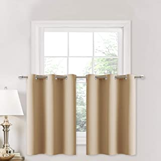 NICETOWN Small Kitchen Windows Curtains - Blackout Functional Thermal Insulated Window Treatment Curtains/Drapes/Valances (Biscotti Beige, 2 Panels, 42W by 36L + 1.2 inches Header)