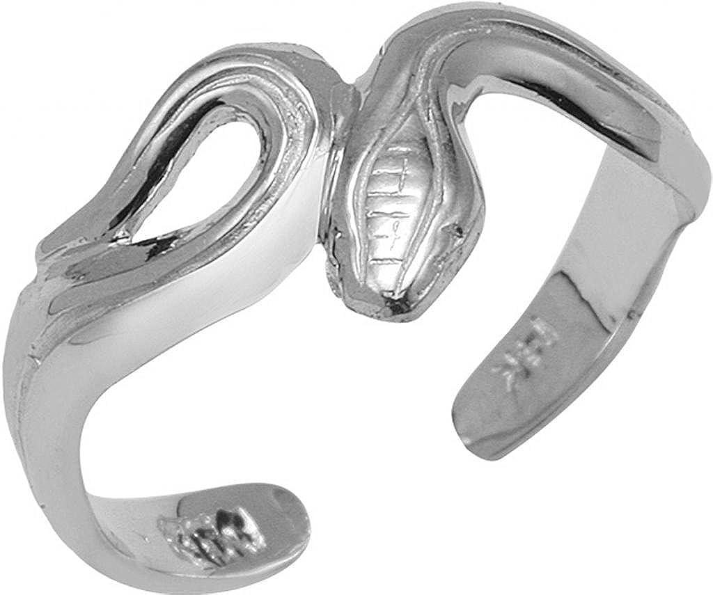Fine 14k White Gold Infinity Snake Toe Ring