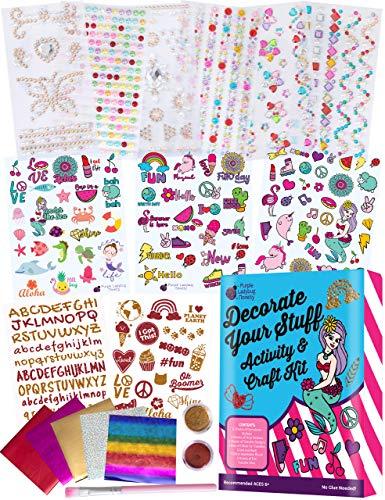 Purple Ladybug Bastelset Kinder zum Selbstgestalten für Mädchen - Für Scrapbook, Laptop, Telefon oder Party Deko - Tolles Mitgebsel Kindergeburtstag - Einzigartiges Kinder-Kunst- und Bastelset