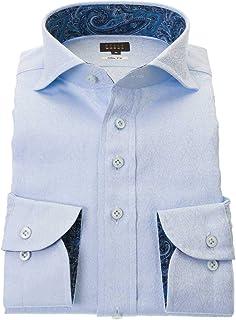 ワイシャツ メンズ STYLE WORKS スタイルワークス 綿 100% ブルー ワイド 長袖 ドレスシャツ カッターシャツ シャツ 柄シャツ 派手シャツ|RWD112-151
