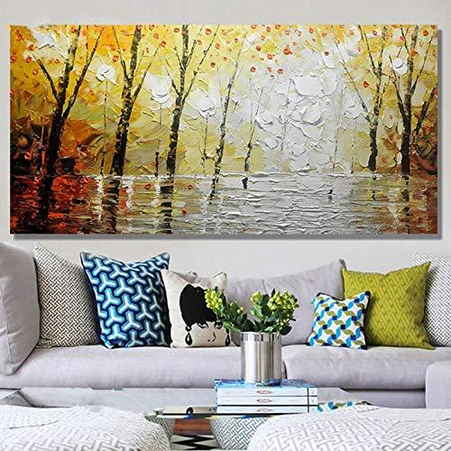 CYACC Acrylbilder Bäume Palette Wandkunst Bild Home Decor Handgemalte abstrakte Landschaft Ölgemälde auf Leinwand @ 60x120cmx1_no_Frame