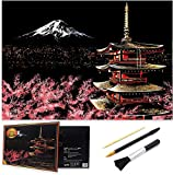 Scratch Art Rainbow Painting Paper, Sketch Pad DIY Night View Scratchboard for Kids & Adults, Engraving Art & Craft Set, Scratch Painting Creative Gift, 16'' x 11.2'' with 3 Tools (Mount Fuji-Japan)