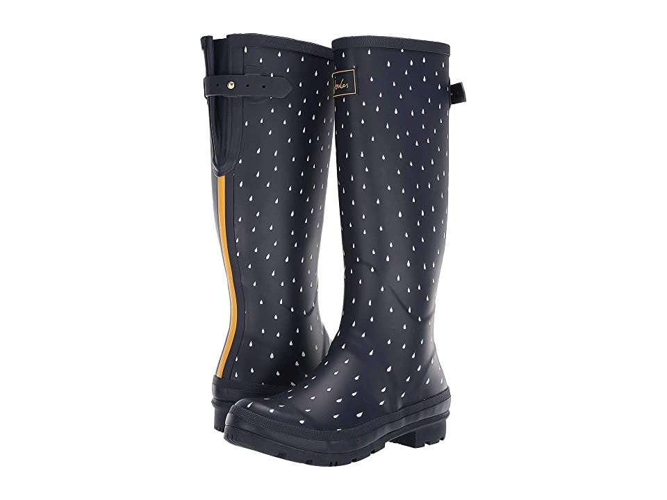 Joules Welly Print (Navy Raindrops) Women