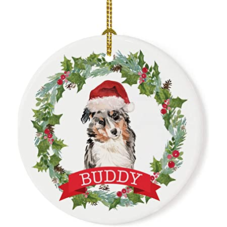 Metal Dog Christmas Ornament Pet Lover Memorial Ornament Australian Shepherd Dog Ornament 2 Pet Loss Dog Memorial Remembrance Gift