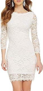 Sponsored Ad - WOOSEA Elegant 3/4 Sleeve Full Flroal Lace Short Cocktail Dress