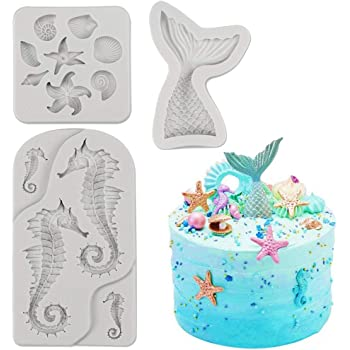 SAKOLLA Mermaid Theme Cake Fondant Mold - Seahorse Seashell Starfish Mermaid Tail Silicone Mold for Under The Sea Cake Decoration, Chocolate, Candy, Polymer Clay, Cupcake Decor, Sugar Craft, etc.
