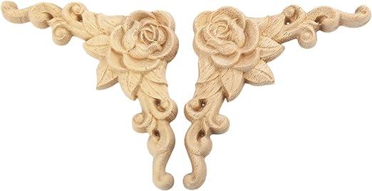 4Pcs Chinesischer Stil Holz Skulptur Corner Flourish f/ür Fenster Tisch T/ür Dekor 6*6cm