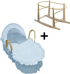 Broderie Anglaise Palm Baby Moses Basket and Rocking Stand- Blue