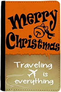 Black Lovely Font Merry Christmas Traveling quato Passport Holder Travel Wallet Cover Case Card Purse