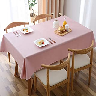 L&T PVC Impermeable Mantel Color Sólido, Rectangular Lavables Manteles Clip De Dinero A Prueba De Aceite Comedor Mesa De Cafe Exterior Casa-Rosado 110x170cm(43x67inch)