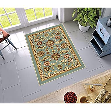 Non-Skid / Slip Rubber Back Antibacterial 3x5 ( 3'3  x 4'7  ) Door Mat Rug Timeless Oriental Blue Traditional Classic Sarouk Thin Low Pile Machine Washable Indoor Outdoor Kitchen Hallway Entry