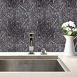 Fliesenaufkleber Mosaik 03 Fliesen Fliesensticker Aufkleber Deko Bad Küche schwarz grau Kacheln Wall-Art - 15x20 cm - 20-er Set
